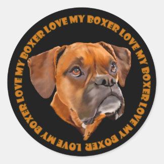Boxer-Hund Runder Aufkleber