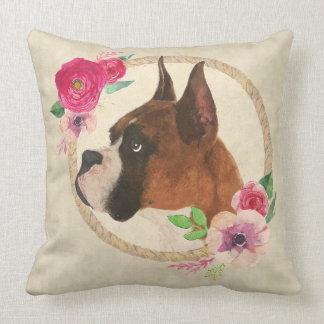 Boxer-Hund u. BlumenKranz Kissen