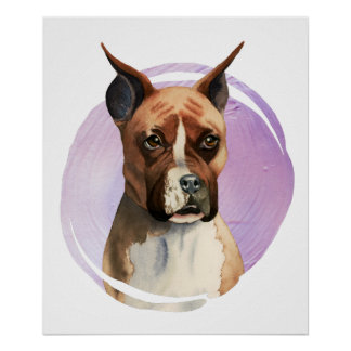 Boxer-HundeAquarell-Malerei Poster