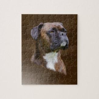 Boxer-HundeÖlgemälde-Kunst-Porträt Puzzle