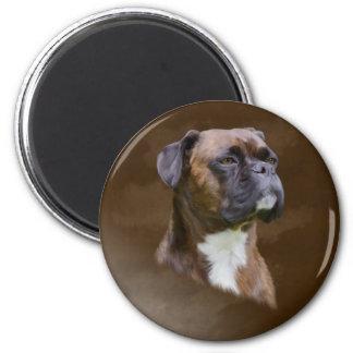 Boxer-HundeÖlgemälde-Kunst-Porträt Runder Magnet 5,7 Cm