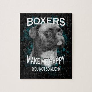 Boxer-Hundetierliebhaber-Kunst-Text Puzzle