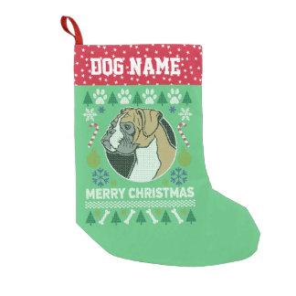 Boxer-Hundezucht-hässliche Weihnachtsstrickjacke Kleiner Weihnachtsstrumpf