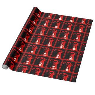 Boxer im Rot Geschenkpapier