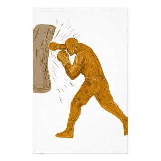 Boxer-lochende Taschen-Zeichnen Briefpapier