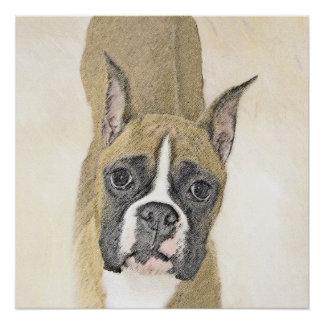 Boxer-Malerei - niedliche ursprüngliche Hundekunst Poster