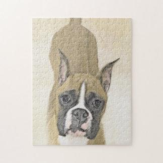 Boxer-Malerei - niedliche ursprüngliche Hundekunst Puzzle