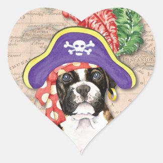 Boxer-Pirat Herz-Aufkleber