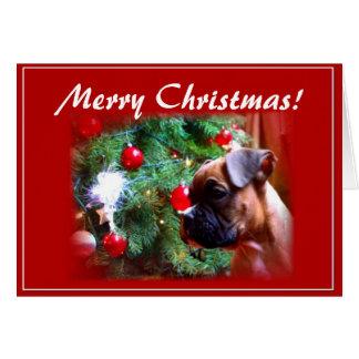 Boxerwelpen-Grußkarte der frohen Weihnachten Karte