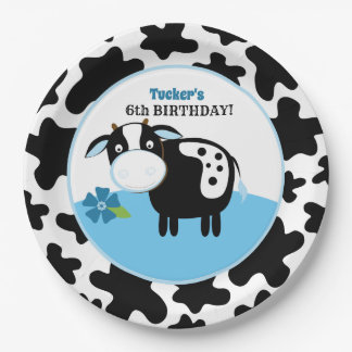 Boy Farm Cow Birthday Paper Plates / Any Age Pappteller
