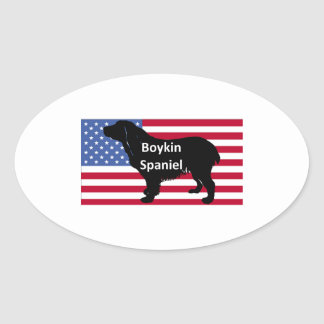 boykin Spaniel-Namen-Silhouette auf usa-flag.png Ovaler Aufkleber