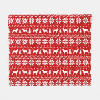 Boykin Spaniel-Silhouette-Weihnachtsmuster-Rot Fleecedecke