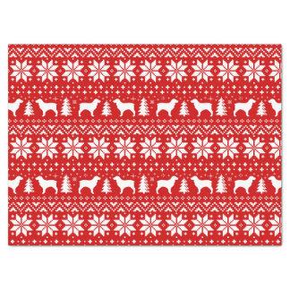Boykin Spaniel-Silhouette-Weihnachtsmuster-Rot Seidenpapier