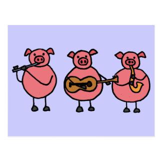 BR 3 kleine musikalische Schweinpostkarte Postkarte