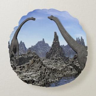 Brachiosaurusdinosaurier - 3D übertragen Rundes Kissen