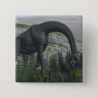 Brachiosaurusdinosaurier, der Farn isst - 3D Quadratischer Button 5,1 Cm