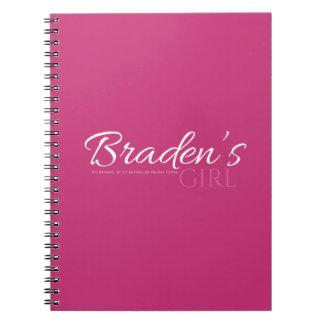 Bradens Mädchen-Notizbuch Spiral Notizblock