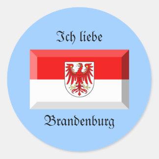 Brandenburg-Flaggen-Edelstein Runder Aufkleber