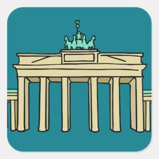 Brandenburger Tor in Berlin Quadrat-Aufkleber