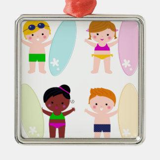 BRANDUNG fantastische Kinder Quadratisches Silberfarbenes Ornament