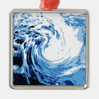 Brandung im Meer Quadratisches Silberfarbenes Ornament