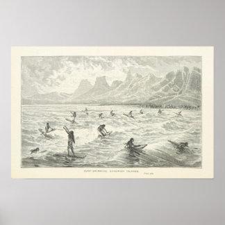 Brandung-Schwimmen, Sandwich-Inseln Poster