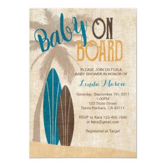 Brandungs-Babyparty-Einladung mit Surfbrettern Karte
