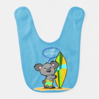 Brandungs-Koala-Bärn-Baby-Schellfisch Lätzchen
