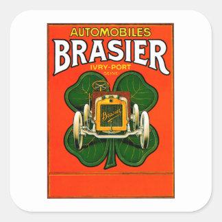 Brasier-Automobil ~ Vintage Automobil-Anzeige Quadratischer Aufkleber
