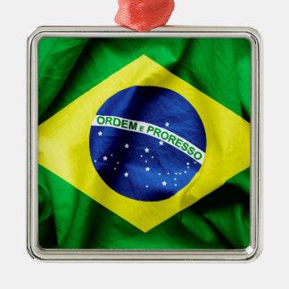 Brasilianische Flagge Silbernes Ornament