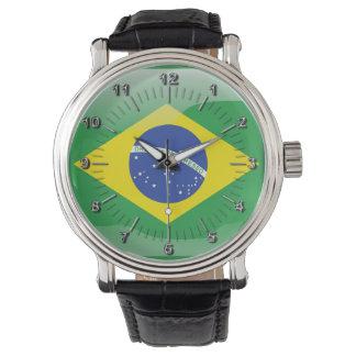Brasilianische glatte Flagge Armbanduhr