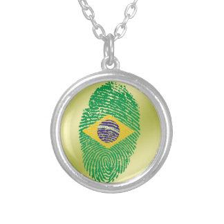 Brasilianische Touchfingerabdruckflagge Halskette Mit Rundem Anhänger