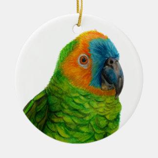 Brasilianischer Papagei Rundes Keramik Ornament