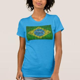 Brasilien-Flagge auf Stahlblech T-Shirt