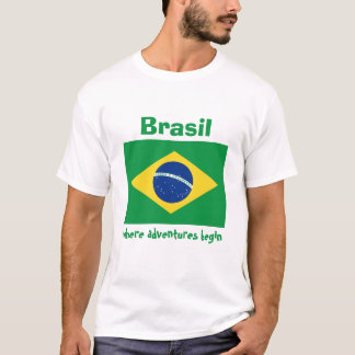 Brasilien-Flagge + Karte + Text-T - Shirt