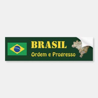 Brasilien-Flagge + Karten-Autoaufkleber Autoaufkleber