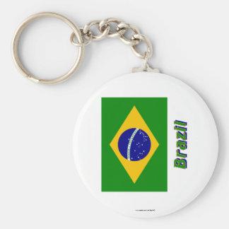 Brasilien-Flagge mit Namen Standard Runder Schlüsselanhänger