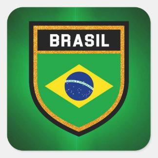 Brasilien-Flagge Quadratischer Aufkleber