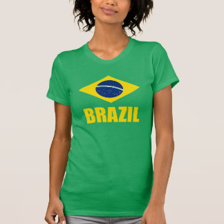 Brasilien-Flaggen-gelber Text-Grün T-Shirt