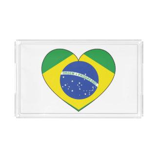Brasilien-Flaggen-Herz Acryl Tablett