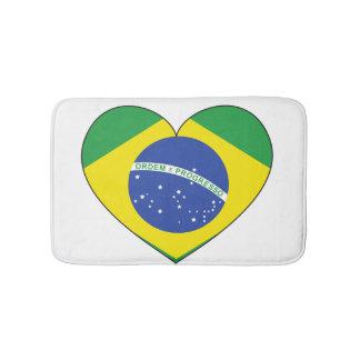 Brasilien-Flaggen-Herz Badematten
