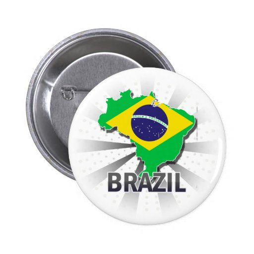 Brasilien-Flaggen-Karte 2,0 Anstecknadelbutton