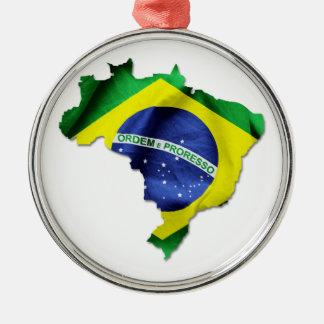 Brasilien-Flaggen-Land Silbernes Ornament