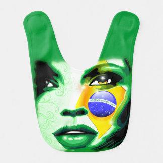 Brasilien-Flaggen-Mädchen-Porträt Baby_Bib Lätzchen