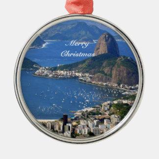 Brasilien: Rio- de Janeirolandschaft - frohe Silbernes Ornament