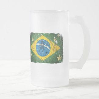 Brasilien-Schmutzflagge für Brasilianer weltweit Mattglas Bierglas