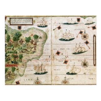 """Brasilien vom """"Miller-Atlas"""" durch Pedro Reinel Postkarte"""
