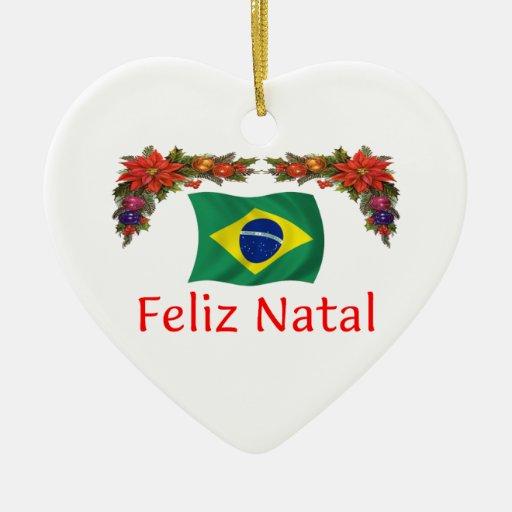 brasilien weihnachten keramik herz ornament zazzle. Black Bedroom Furniture Sets. Home Design Ideas