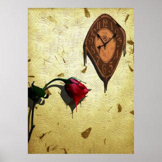 Bratenfett-Uhr und Single Rote Rose Poster