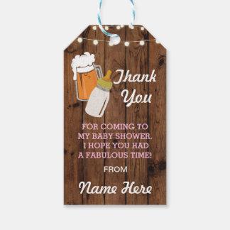 BrauenBabyparty-Umbau-Flaschen-Bier danken Ihnen Geschenkanhänger